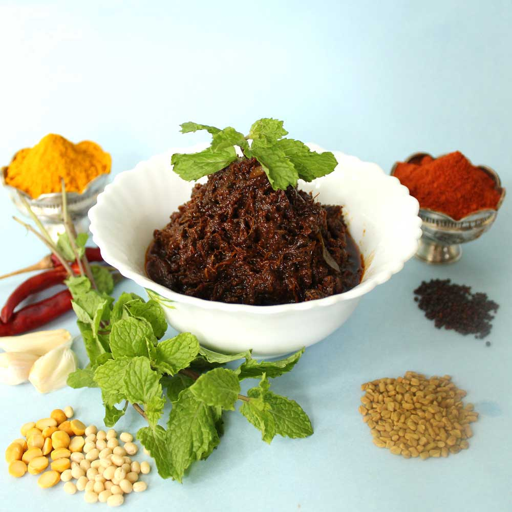 Pudhina Mint Pickle - Andhra Style